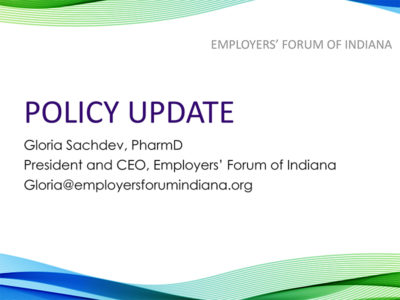 Legislative Policy Update Feb 2020 presentation title slide by Gloria Sachdev