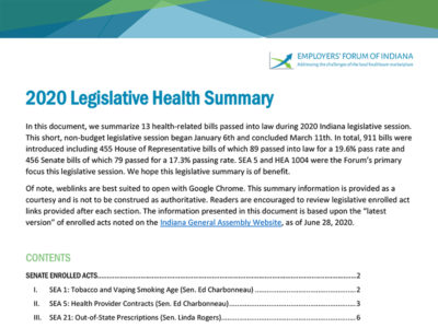 Front page of Employers' Forum of Indiana Legislative Health Summary 2020