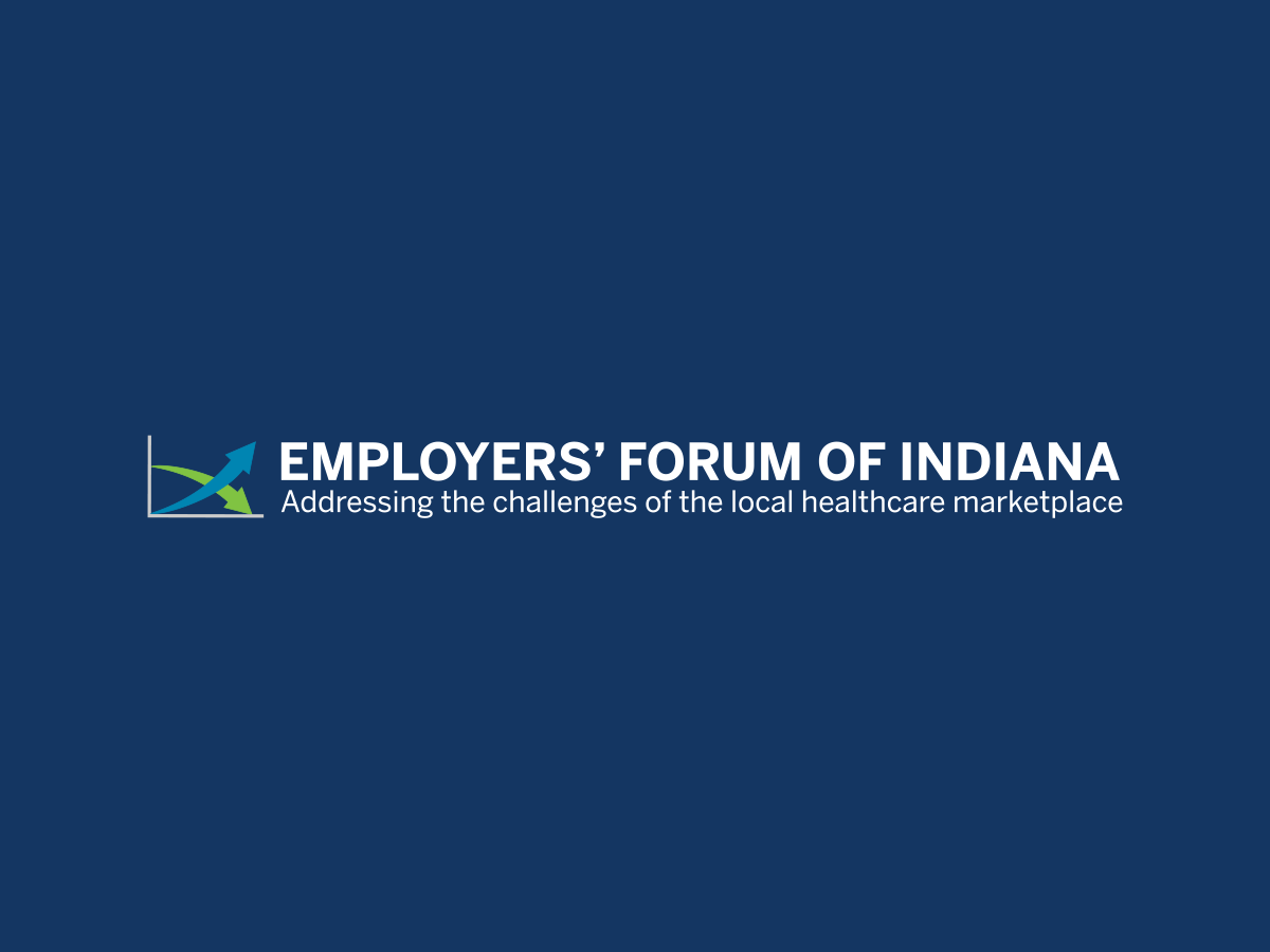 Employers' Forum of Indiana logo on a dark blue background