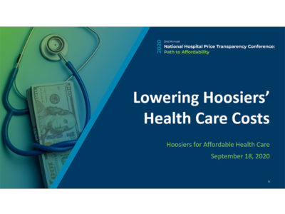 Lowering Hoosiers' Health Care Costs by Hoosiers for Affordable Health Care presentation title slide
