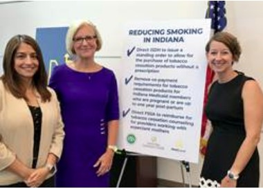 Gloria Sachdev and ISDH at the signing of the tobacco cessation order