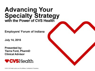 Advancing Your Specialty Strategy by Tierra Ford presentation title slide