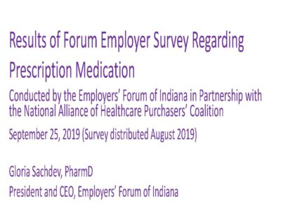 Complete Survey Results Forum Employer Perspectives on High Drug Prices presentation title slide