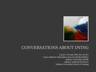 Conversations About Dying presentation title slide by Lucia Wocial
