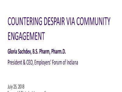 Counter Despair via Community Engagement presentation title slide by Gloria Sachdev