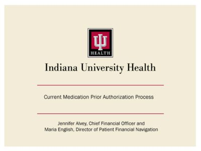 Current Medication Prior Authorization Process presentation title slide by Jennifer Alvey and Maria English