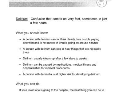Delirium Handout Prevention Activities page 1