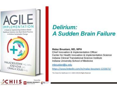 Delirium Impact on Brain Health presentation title slide by Malaz Boustani