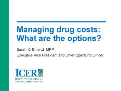 Drug Value presentation title slide by Sarah Emond