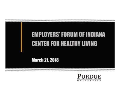 Purdue's Center for Health Living presentation title slide