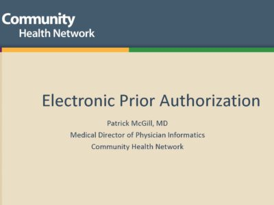 Electronic Prior Authorization presentation title slide by Patrick McGill