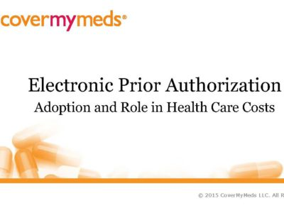 Electronic Prior Authorization presentation title slide by CoverMyMeds