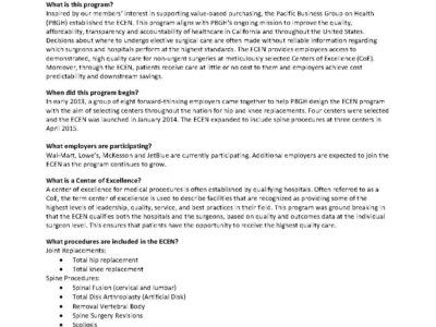 Handout Pacific Business Group on Health Employer Centers of Excellence Network page 1