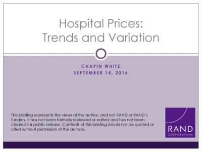 Hospital Prices presentation title slide by Chapin White