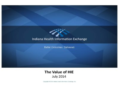 IHIE The Value of HIE presentation title slide