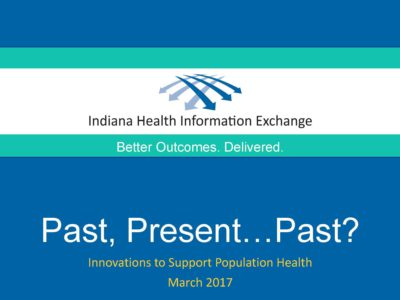 Population Health Solutions presentation title slide by IHIE