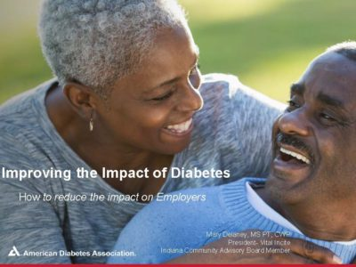 Improving Diabetes in your workplace presentation title slide by Mary Delaney