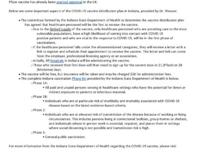 Indiana COVID 19 Vaccine Distribution Plan letter