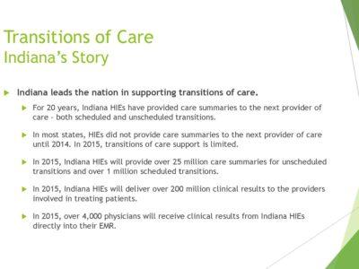 Indiana Health Information Exchange on Transition of Care presentation slide