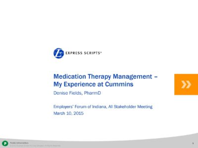 Medication Therapy Management presentation title slide by Express Scripts