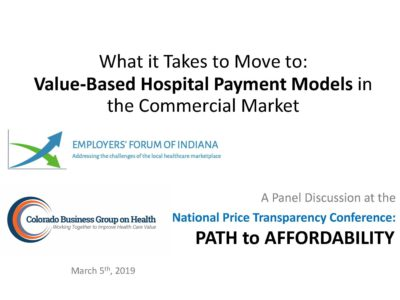 Moving to Value Based Hospital Payment Models in the Commercial Market presentation title slide