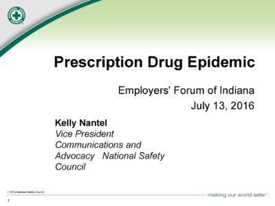 Perscription Drug Epidemic presentation title slide by Kelly Nantel