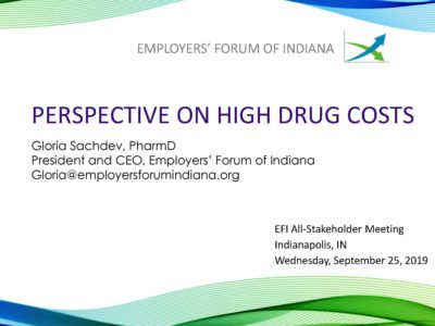 Perspective on High Drug Costs presentation title slide by Gloria Sachdev