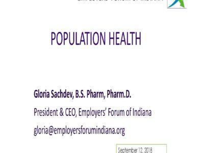Population Health presentation title slide by Gloria Sachdev