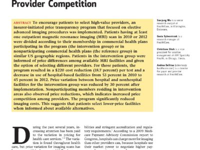 Price Transparency Article from Health Affairs page 1