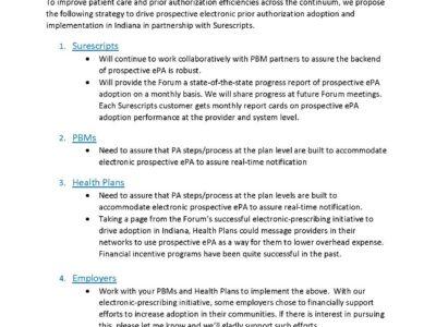 Prospective electronic prior authorization adoption strategy by Gloria Sachdev presentation title slide