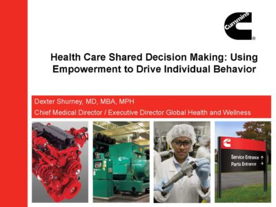 Shared Health Care Decision Making presentation title slide by Dexter Shurney