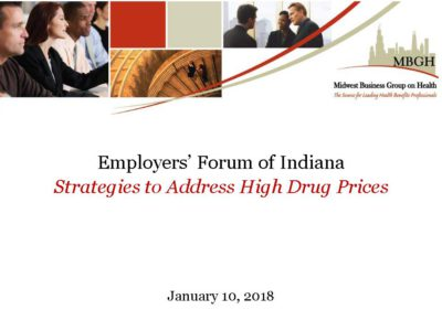 Strategies to address high drug prices Midwest Busniess Group on Health presentation title slide
