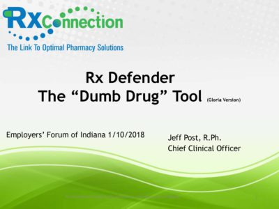 Strategy to address high drug prices RX Connection presentation title slide by Jeff Post