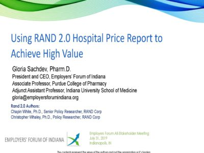 Using RAND 2.0 Hospital Price Report to Achieve High Value presentation title slide by Gloria Sachdev