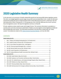 Link to Employers' Forum of Indiana Legislative Health Summary 2020