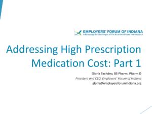 Addressing High Prescription Medication Cost presentation title slide by Gloria Sachdev