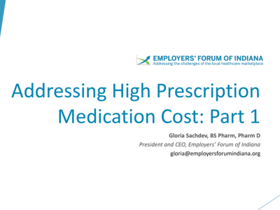 Addressing High Prescription Medication Cost presentation title slide by Gloria Sachdev