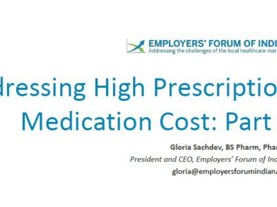 Addressing High Prescription Medication Costs presentation title slide by Gloria Sachdev