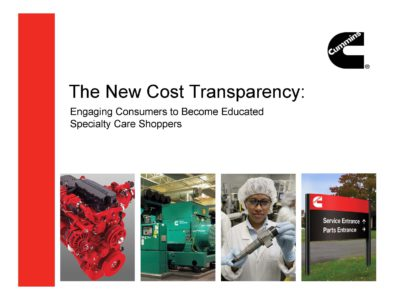 The New Cost Transparency presentation title slide by Cummins