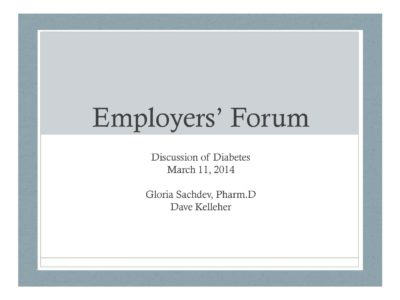 Discussion of Diabetes presentation title slide by Gloria Sachdev and Dave Kelleher