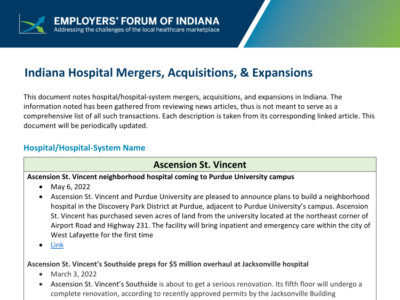 Indiana Hospital Mergers Acquisitions Expansions