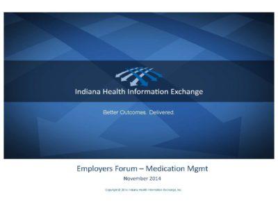 Medication Management presentation title slide by Indiana Health Information Exchange