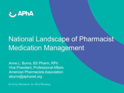 National Landscape of Pharmacist Medication Management