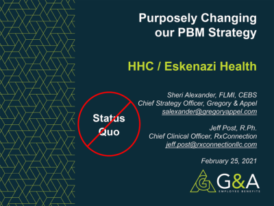 Purposely Changing our PBM Strategy presentation title slide by Jeff Post