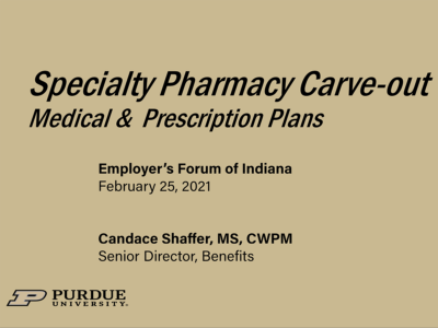 Specialty Pharmacy Carve-Out presentation title slide by Candace Shaffer