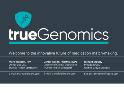 The Innovative Future of Medication Match-Making presentation title slide by Mark Williams, Daniel Wilson, and Richard Mousty